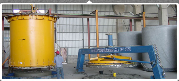 Manufacturer of VIHY Multicast 360 Machine for Producing Large Pipes and Manhole Production Systems.